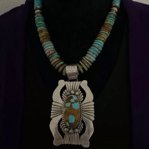 S.S.Number 8 TurquoisePendant W Necklace. C Yazzie